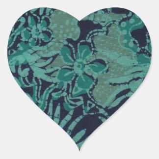 Navy and Turquoise Batik Pattern Heart Sticker