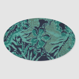 Navy and Turquoise Batik Pattern Oval Sticker