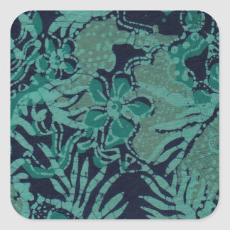 Navy and Turquoise Batik Pattern Square Sticker