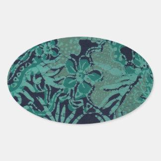 Navy and Turquoise Batik Pattern Sticker