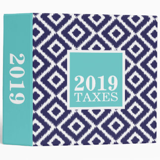 Navy and Turquoise Ikat Diamonds Tax File Binder