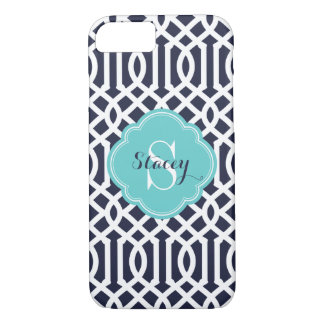 Navy and Turquoise Modern Trellis Monogram iPhone 8/7 Case