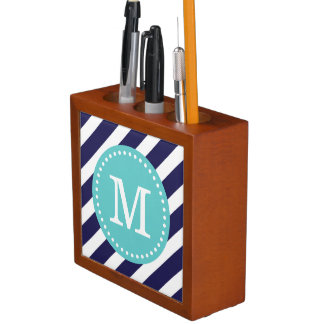 Navy and Turquoise Preppy Stripes Custom Monogram Desk Organizer