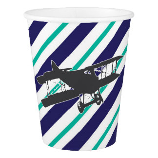 Navy and Turquoise Vintage Airplane Paper Cups