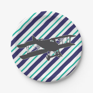 Navy and Turquoise Vintage Airplane Paper Plates