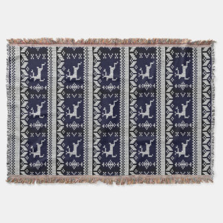 Navy and White Alpine Pattern Reindeer - Monogram Throw Blanket