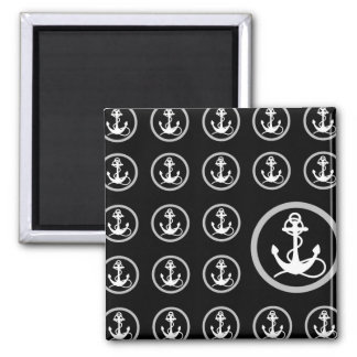 Navy and White Anchor Background Square Magnet