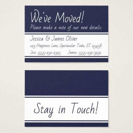 Navy and White Bold We've Moved Handout Cards