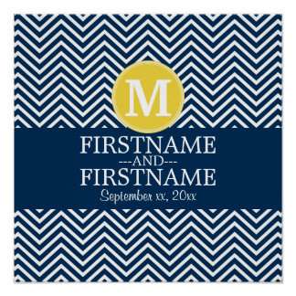Navy and White Chevron Pattern Custom Monogram Poster
