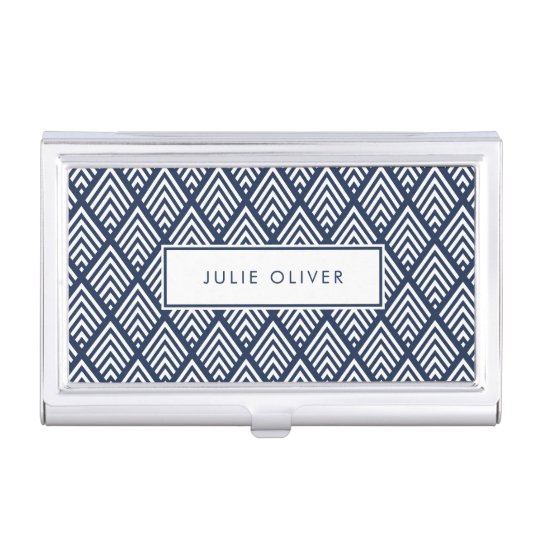 Navy and White Diamond Pattern Business Card Holder