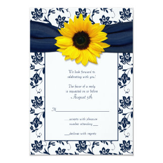Navy and White Floral Damask Wedding Reply Card