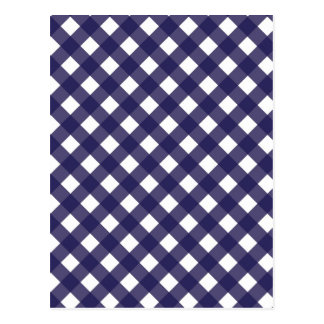 Navy and White Gingham Medium Postcard