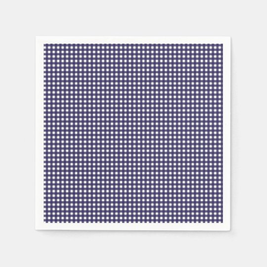 Navy and White Gingham Paper Napkin