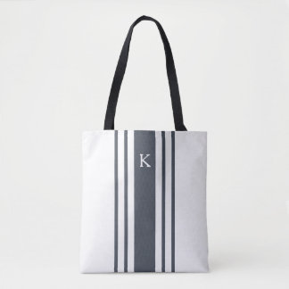 Navy and White Grainsack Stripe Monogram Tote Bag