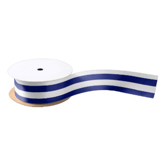 Navy and White Horizontal Stripes Satin Ribbon