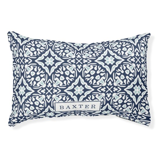 Navy and White Mediterranean Pattern Pet Bed