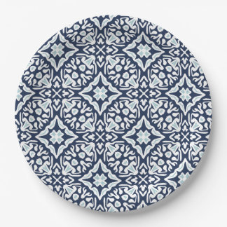 Navy and White Mediterranean Tile Pattern 9 Inch Paper Plate