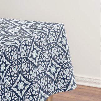 Navy and White Mediterranean Tile Pattern Tablecloth