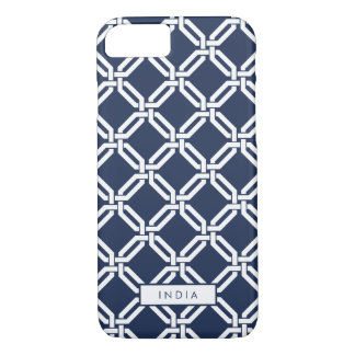 Navy and White Octagon Link Pattern iPhone 7 Case
