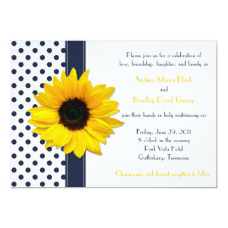 Navy and White Polka Dot Wedding Invitation
