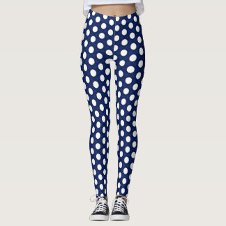 Navy and White Polka Dots Leggings