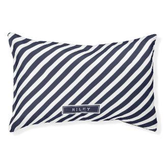 Navy and White Preppy Stripes Monogram Pet Bed