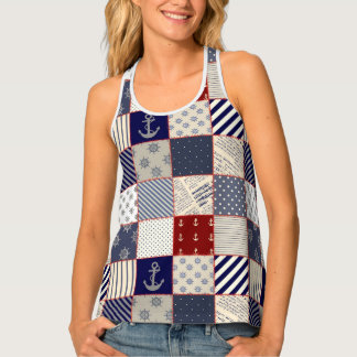 Navy and White Quilt Nautical Racer Back Tank top