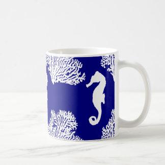 Navy And White Seahorse Coastal Pattern Coffee Mug