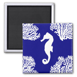 Navy And White Seahorse Coastal Pattern Square Magnet