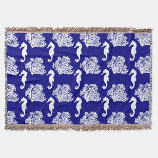 Navy And White Seahorse Coastal Pattern Throw Blanket