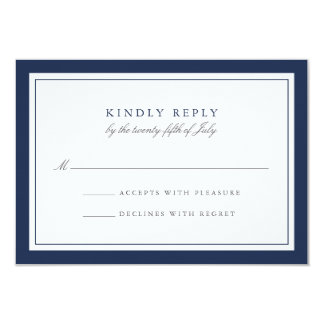 "Navy and White Simple Border Wedding RSVP Card 3.5"" X 5"" Invitation Card"