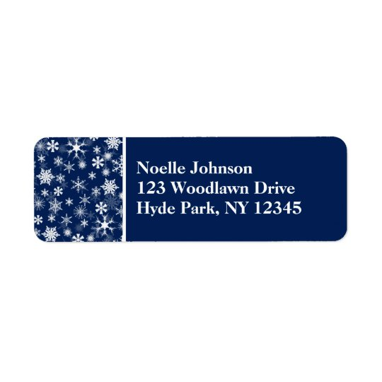Navy and White Snowflakes Return Address Label