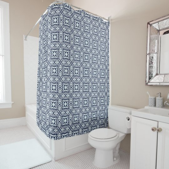 Navy and White Spanish Tile Pattern