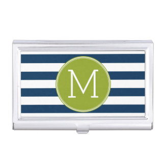 Navy and White Striped Pattern Green Monogram Business Card Holder
