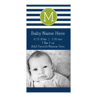 Navy and White Striped Pattern Green Monogram Card