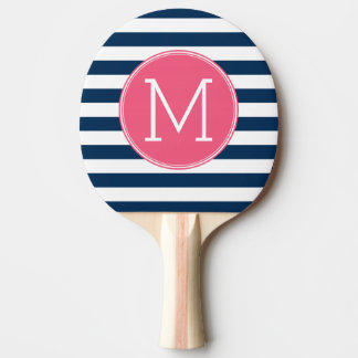 Navy and White Striped Pattern Hot Pink Monogram Ping Pong Paddle