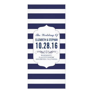 Navy and white stripes chic wedding programs