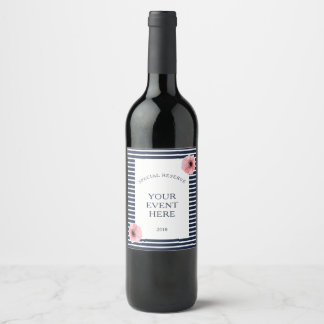 Navy and White Stripes With Floral Accents Wine Label