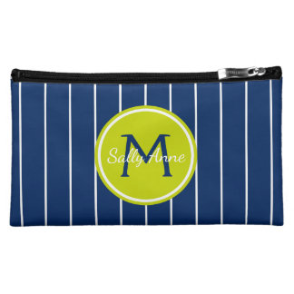 Navy and White Stripes With Lime Green Monogram Cosmetics Bags