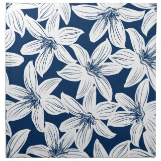 Navy and white tropical hibiscus napkin