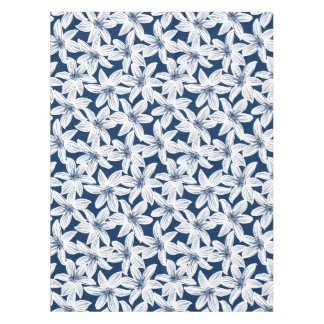 Navy and white tropical hibiscus tablecloth