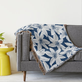 Navy and white tropical hibiscus throw blanket