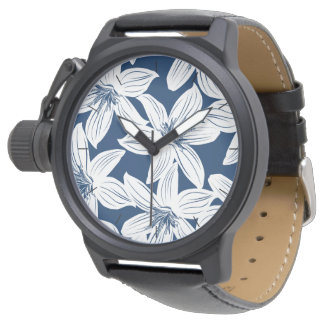 Navy and white tropical hibiscus watch