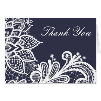 Navy and White Vintage Lace | Thank You Card