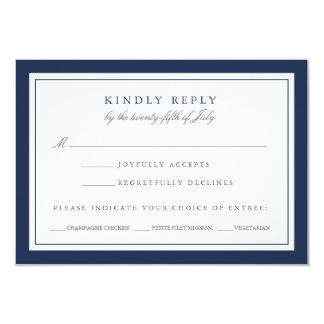 """Navy and White Wedding RSVP Card w/ Meal Choice 3.5"""" X 5"""" Invitation Card"""