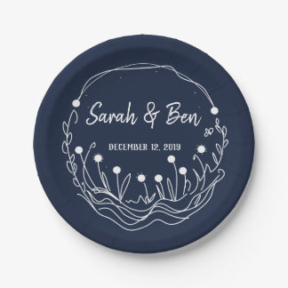 Navy and White Whimsical Wedding Plate