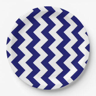 Navy and White Zigzag Paper Plate