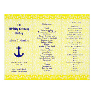 Navy and Yellow Anchor Wedding Program Template Personalized Letterhead