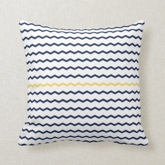 Navy and Yellow Chevron Throw Pillow