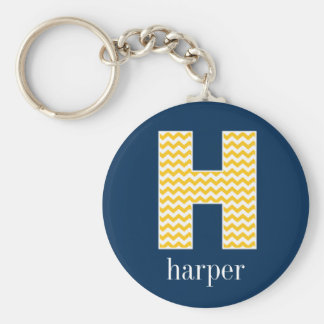 Navy and Yellow Chevrons Huge Monogram Letter H Basic Round Button Keychain